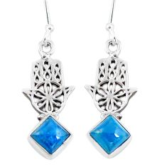 Natural blue apatite (madagascar) 925 silver hand of god hamsa earrings d29815