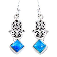 Natural blue apatite (madagascar) 925 silver hand of god hamsa earrings d29818