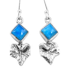 925 silver natural blue apatite (madagascar) deltoid leaf earrings d29819