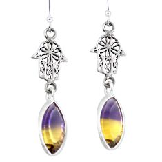 Multi color ametrine (lab) 925 silver hand of god hamsa earrings d29820