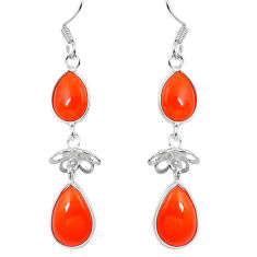 Clearance Sale- Natural orange cornelian (carnelian) 925 silver dangle earrings d29827