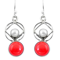 Clearance Sale- Red coral pearl 925 sterling silver dangle earrings jewelry d29828