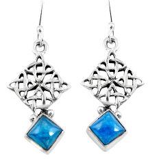 Clearance Sale- Natural blue apatite (madagascar) 925 silver dangle earrings d29841