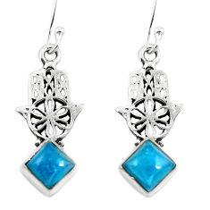 Clearance Sale- 925 silver natural blue apatite (madagascar) hand of god hamsa earrings d29844