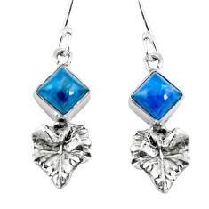 Natural blue apatite (madagascar) 925 silver deltoid leaf earrings d29845