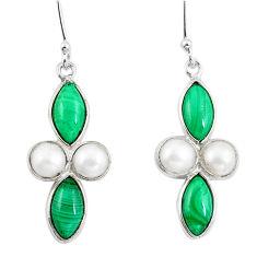 925 silver natural malachite (pilot's stone) dangle earrings jewelry d29859