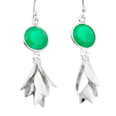 Natural green chalcedony 925 sterling silver dangle earrings d29865