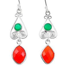 925 sterling silver natural honey onyx green chalcedony dangle earrings d29874