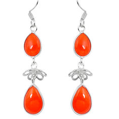 Clearance Sale- Natural orange cornelian (carnelian) 925 silver dangle earrings d29877