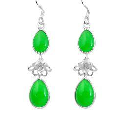 Green jade 925 sterling silver dangle earrings jewelry d29880