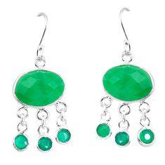 Green jade 925 sterling silver chandelier earrings jewelry d29883