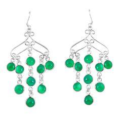 Green jade 925 sterling silver chandelier earrings jewelry d29884