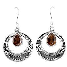 Clearance Sale- 925 sterling silver brown smoky topaz dangle earrings jewelry d29885