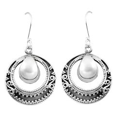 Natural white pearl 925 sterling silver dangle earrings jewelry d29898