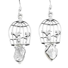 925 silver natural white herkimer diamond dangle cage charm earrings d29899