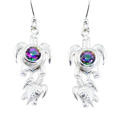 Multi color rainbow topaz 925 sterling silver tortoise earrings jewelry d29911