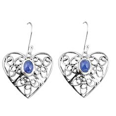 Natural blue tanzanite 925 sterling silver dangle heart earrings d29913