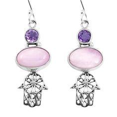 Clearance Sale- Natural pink kunzite 925 silver hand of god hamsa earrings jewelry d29923