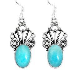 Natural green peruvian amazonite 925 silver dangle earrings d29927