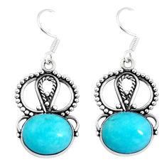 Natural green peruvian amazonite 925 silver dangle earrings d29933
