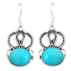 Natural green peruvian amazonite 925 silver dangle earrings d29934