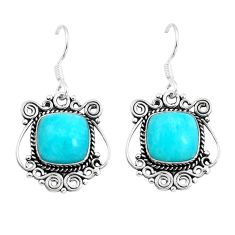Natural green peruvian amazonite 925 silver dangle earrings jewelry d29940