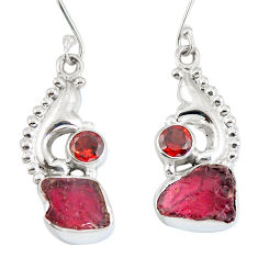 Clearance Sale- Natural pink tourmaline rough 925 silver dangle earrings d29946