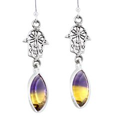 Clearance Sale- Multi color ametrine (lab) 925 silver hand of god hamsa earrings d29952