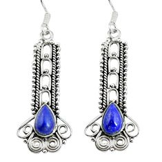 Clearance Sale- Natural blue lapis lazuli 925 sterling silver dangle earrings d29972