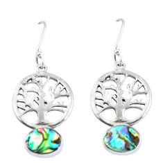 Clearance Sale- Natural green abalone paua seashell 925 silver tree of life earrings d29974