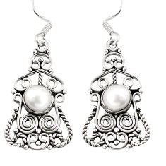 Clearance Sale- 925 sterling silver natural white pearl dangle earrings jewelry d29979