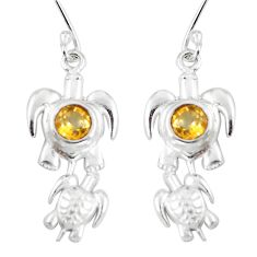 Natural yellow citrine 925 sterling silver tortoise earrings d29997