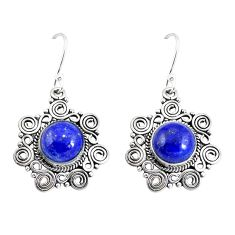 Clearance Sale- Natural blue lapis lazuli 925 sterling silver dangle earrings d29999