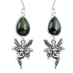 Clearance Sale- Natural golden sheen black obsidian 925 silver angel wings fairy earrings d30003