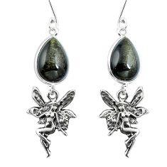 Clearance Sale- Natural golden sheen black obsidian 925 silver angel wings fairy earrings d30004