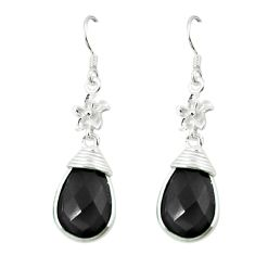Clearance Sale- Natural black onyx 925 sterling silver dangle earrings jewelry d3001