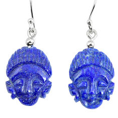 Clearance Sale- 925 silver natural blue lapis lazuli buddha charm earrings jewelry d30018
