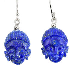 Clearance Sale- Natural blue lapis lazuli 925 silver buddha charm earrings jewelry d30019