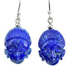 Clearance Sale- 925 silver natural blue lapis lazuli buddha charm earrings jewelry d30020