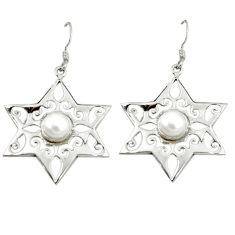 Clearance Sale- ver natural white pearl dangle earrings jewelry d3004