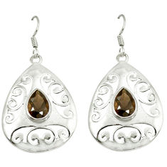 Clearance Sale- Brown smoky topaz 925 sterling silver dangle earrings jewelry d3010