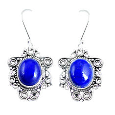 Natural blue lapis lazuli 925 sterling silver dangle earrings d30125