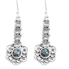 Natural black australian obsidian 925 silver dangle earrings d30127