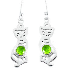 Clearance Sale- Natural green peridot 925 sterling silver cat earrings jewelry d30132