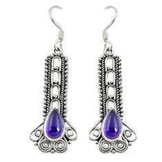 Clearance Sale- Natural purple amethyst 925 sterling silver dangle earrings d30133