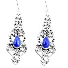 Natural blue lapis lazuli 925 sterling silver dangle earrings d30135