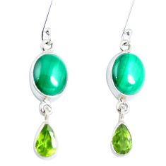 Natural green malachite (pilot's stone) 925 silver dangle earrings d30139