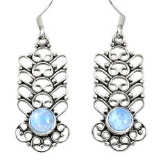 Clearance Sale- Natural rainbow moonstone 925 sterling silver dangle earrings d30153