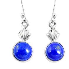 Natural blue lapis lazuli 925 sterling silver dangle earrings d30159