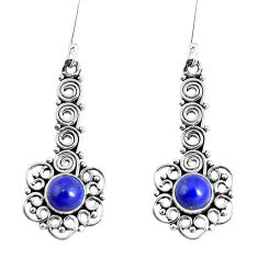 Clearance Sale- Natural blue lapis lazuli 925 sterling silver dangle earrings d30165